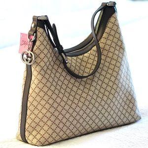 Gucci Diamante Beautiful Canvas & Leather Hobo Bag
